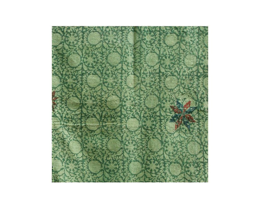 Limited Edition Vintage Kantha Throw - Green 9/16