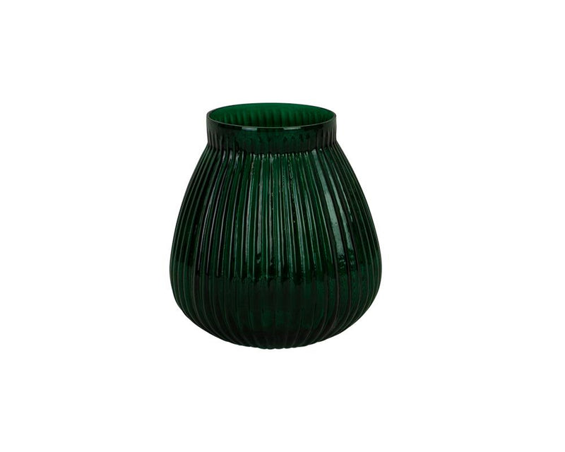 Ribbed Kaanch Vase - Dark Green