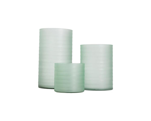 Ribbed Glass Hurricane - Green