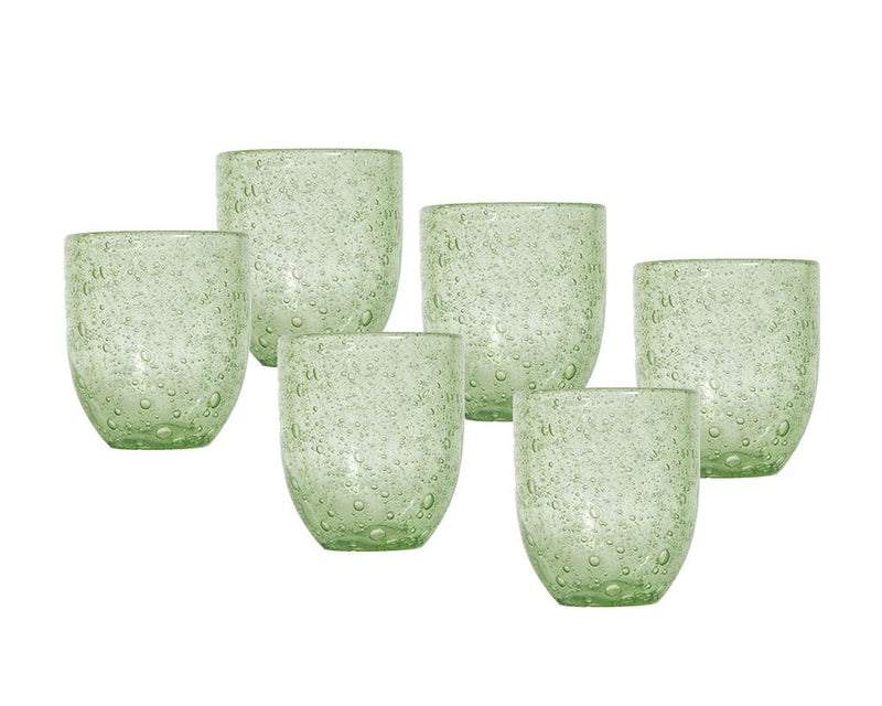 Set of 6 Pulegoso Glass Tumblers - Green
