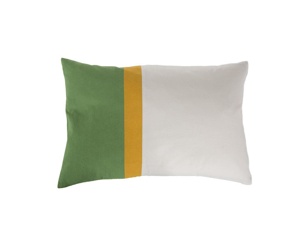 Aakaar Panel Cushion Green/Yellow - Rectangle