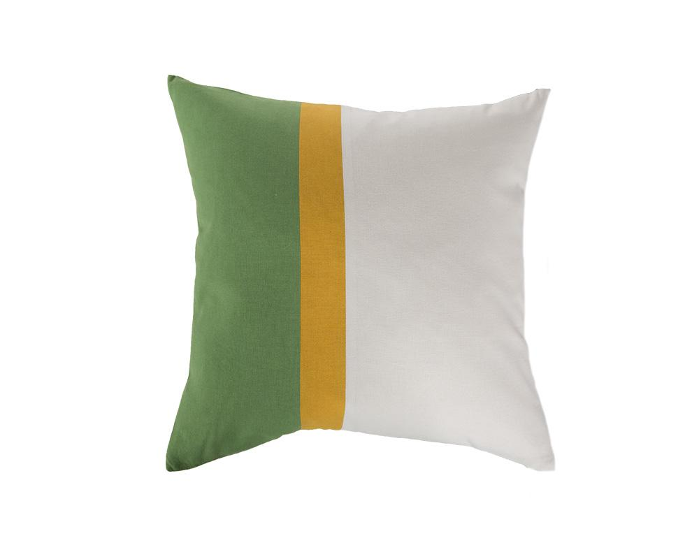 Aakaar Panel Cushion Green/Yellow - Square