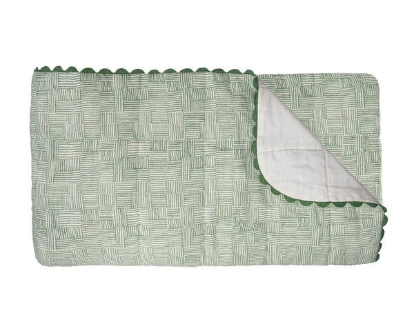 Crosshatch Linen Bedspread - Vetiver