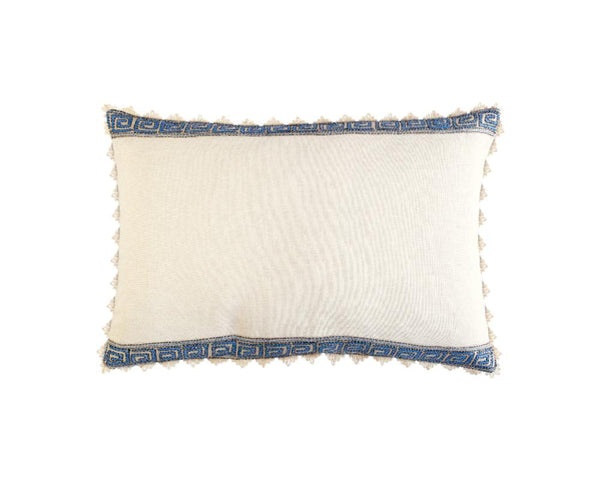 Limited Edition Blue Greek Key Border Silk Kantha Cushion