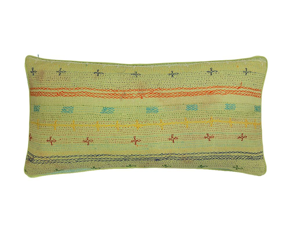 Limited Edition Kantha Cushion - Lime