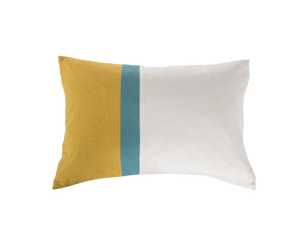 Aakaar Panel Cushion Yellow/Blue - Rectangle