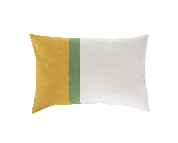 Aakaar Panel Cushion Yellow/Green - Rectangle