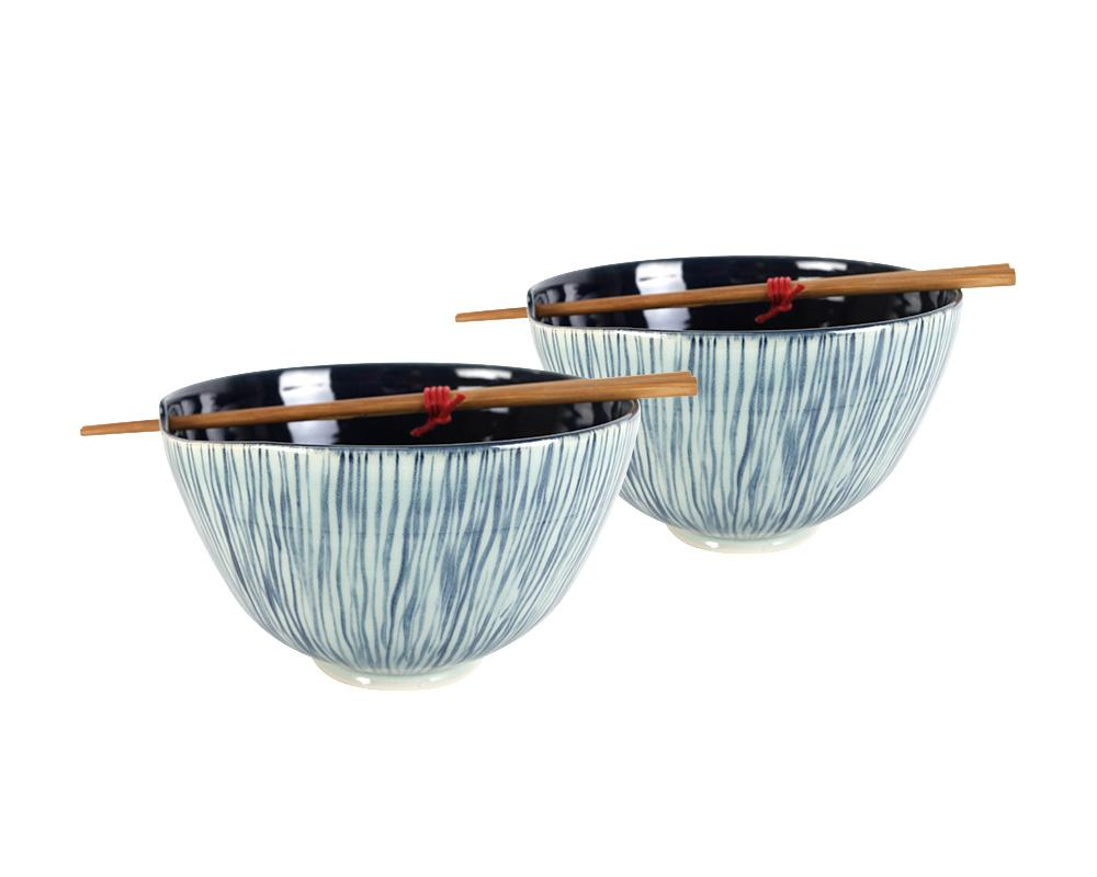 Limited Edition Cecilia Willis Pair of Stoneware Noodle Bowls - Cobalt