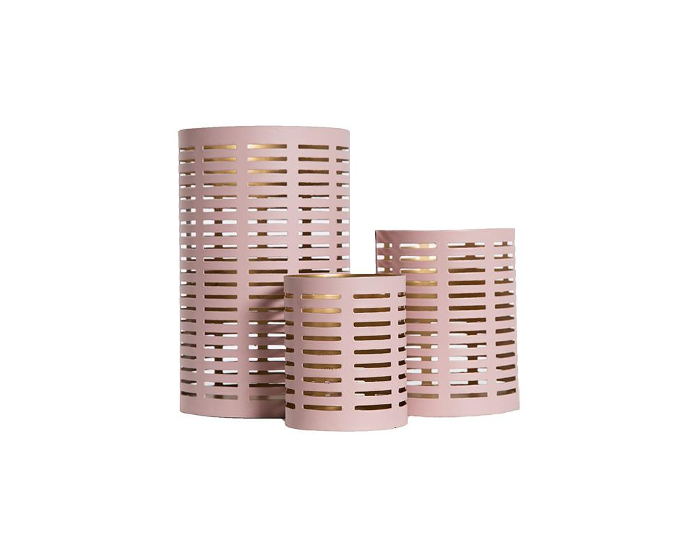 Pierced Metal Votive - Pink