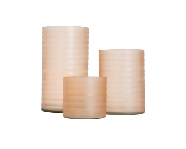 Ribbed Glass Hurricane - Pink
