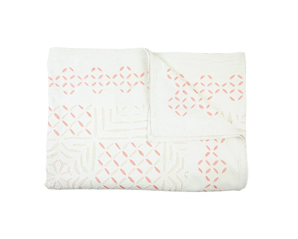 Cut-Work Appliqué Cotton Bedspread - Pink