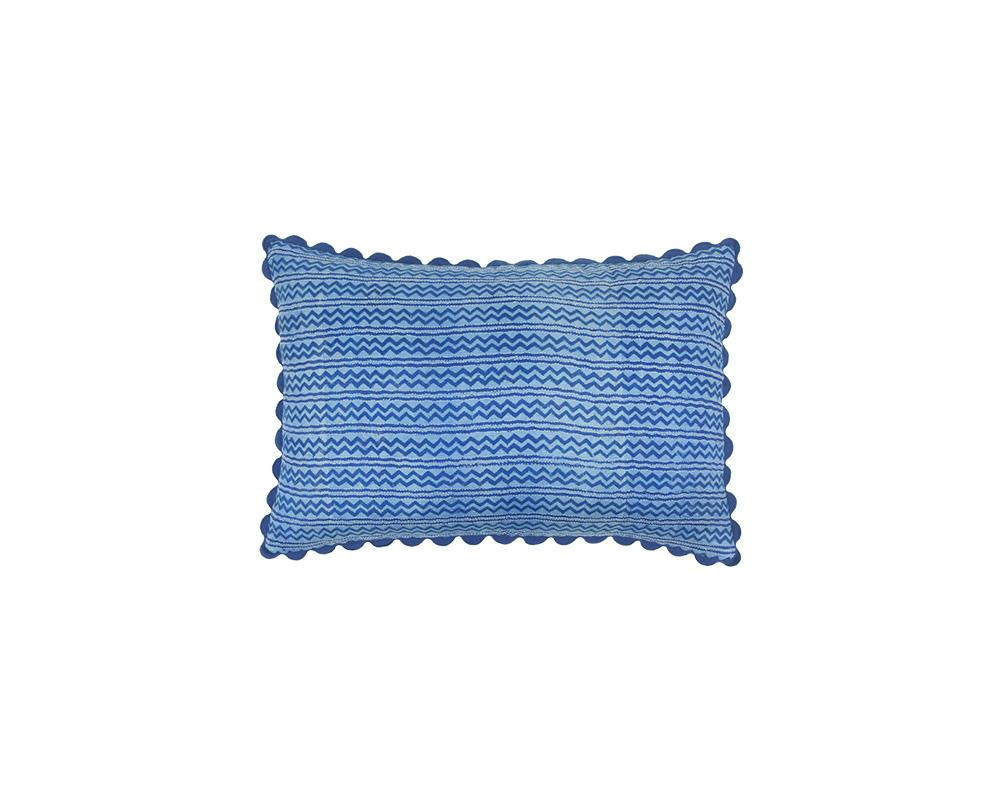 Limited Edition Mishran Silk Kanthawork Cushion - Cobalt