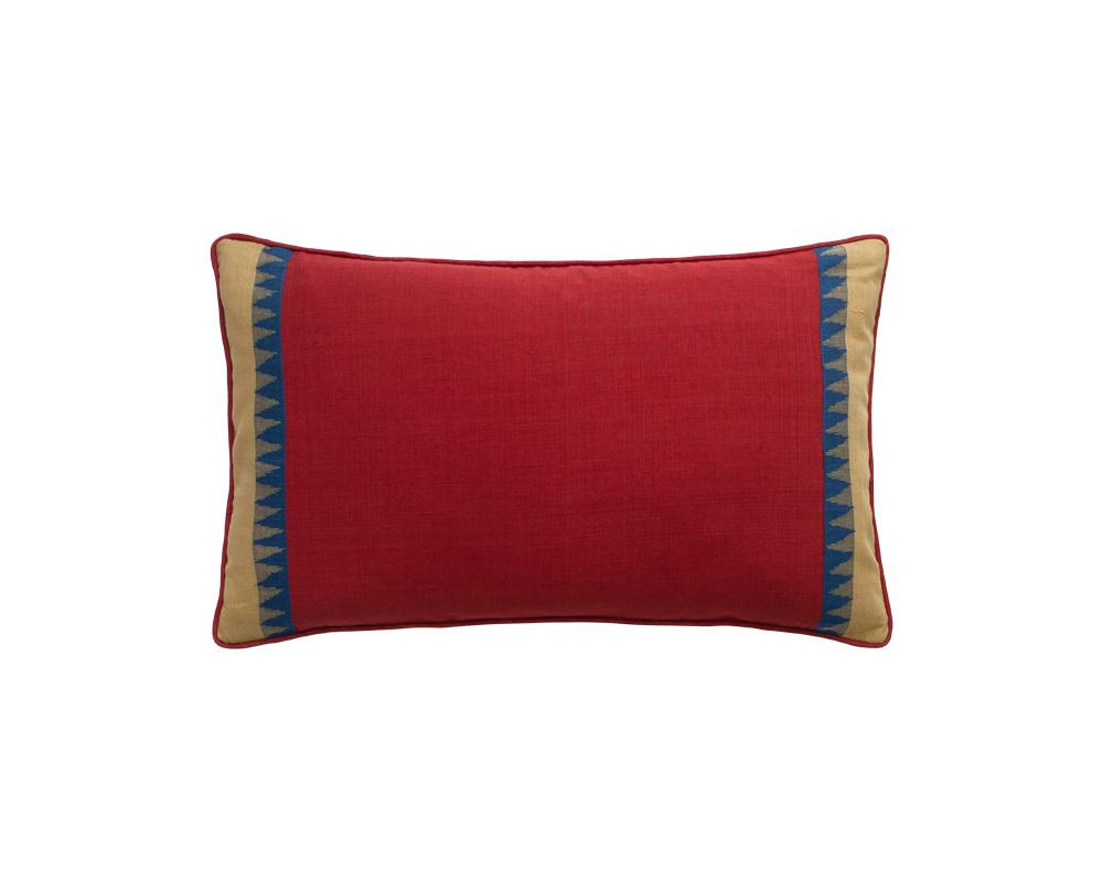 Limited Edition Merlot Tooth Border Khadi Cushion - Small