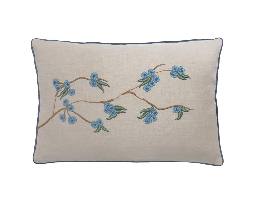 Sakura Embroidered Cushion - Azure