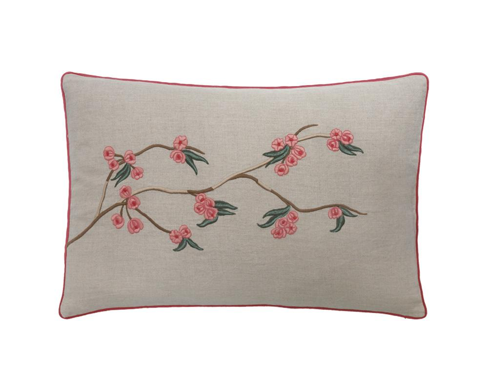 Sakura Embroidered Cushion - Magenta