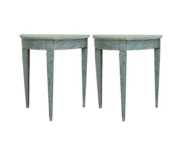 A Pair of Small Swedish Painted Demi Lune Console Tables