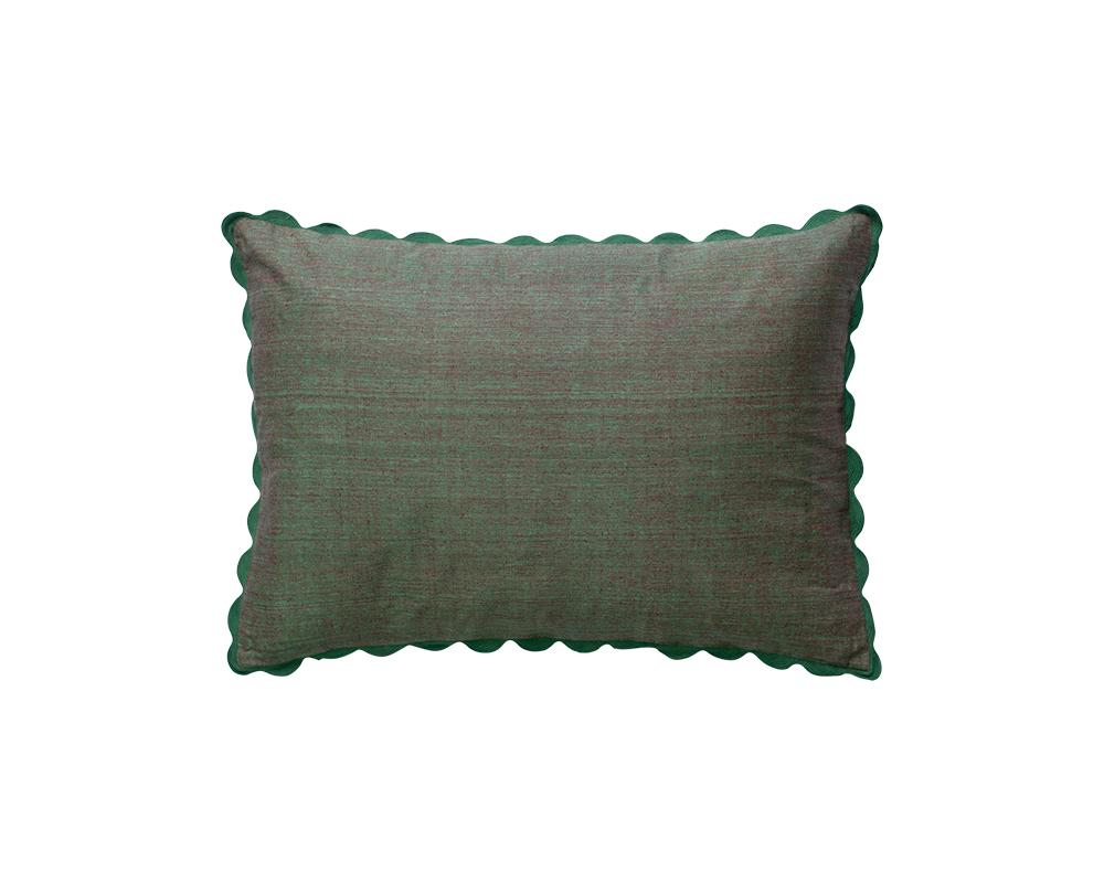 Limited Edition Silk Mel Khadi Cushion - Moss