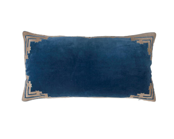Siriki Embroidered Velvet Rectangular Cushion - Midnight