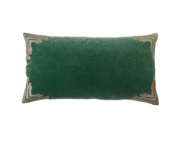 Siriki Embroidered Velvet Rectangular Cushion - Clover