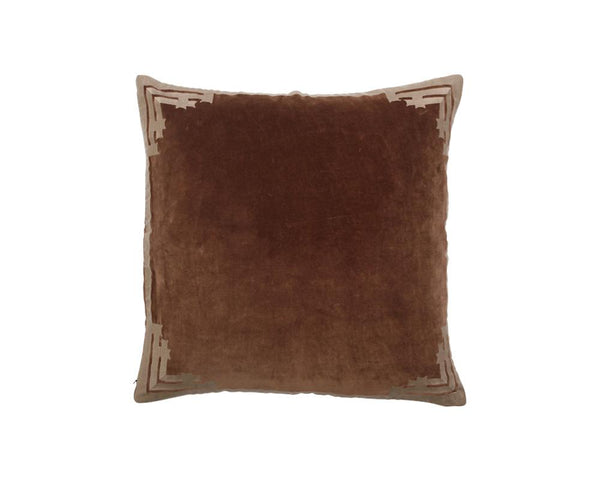 Siriki Embroidered Velvet Square Cushion - Walnut