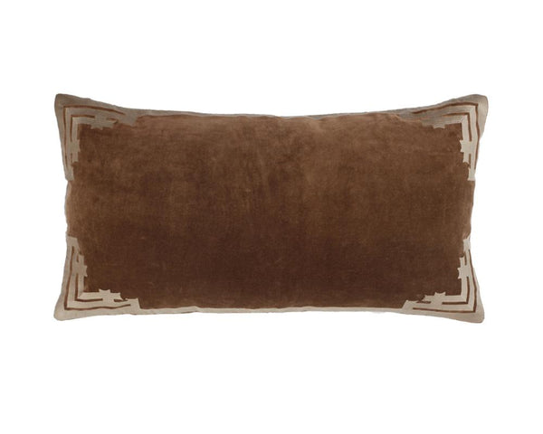 Siriki Embroidered Velvet Rectangular Cushion - Walnut
