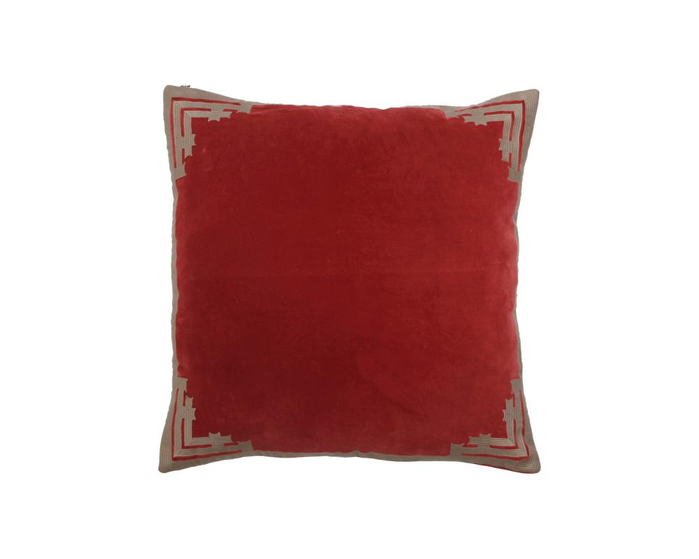 Siriki Embroidered Velvet Square Cushion - Merlot