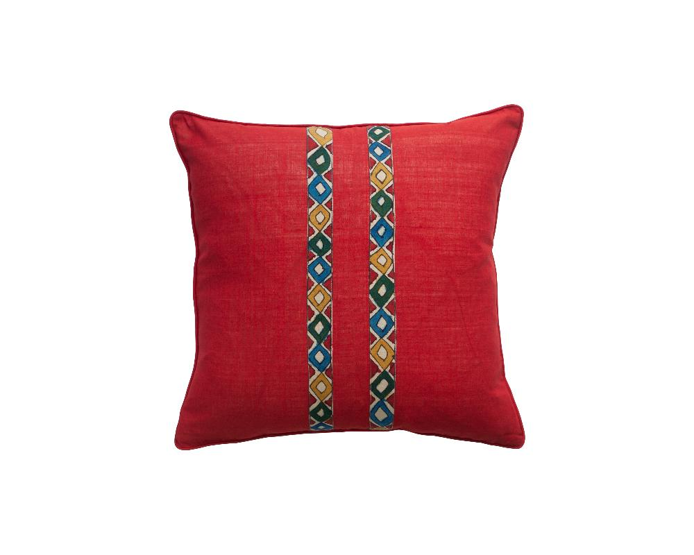 Limited Edition Pent Khadi Square Cushion - Merlot Diamonds
