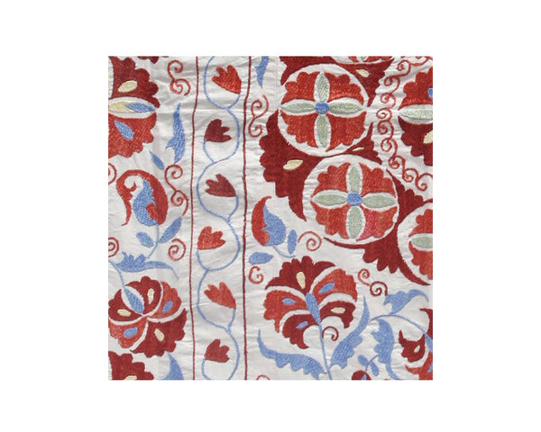red light blue geometric floral embroidered suzani throw