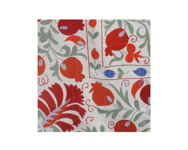 red and orange floral leaf embroidered suzani bed spread throw detail