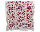 red green blue floral hand embroidered suzani throw
