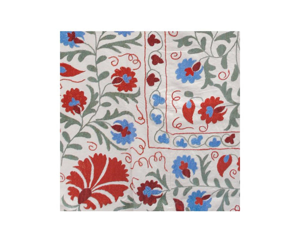 sky blue red green suzani detail embroidered bedspread or throw