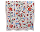 sky blue red green indian suzani detail embroidered bedspread or throw