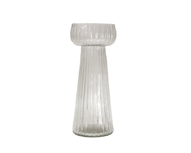 Ribbed Kaanch Flower Vase - Clear