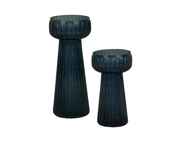 Ribbed Kaanch Flower Vase - Dark Blue