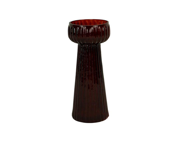 Ribbed Kaanch Flower Vase - Red