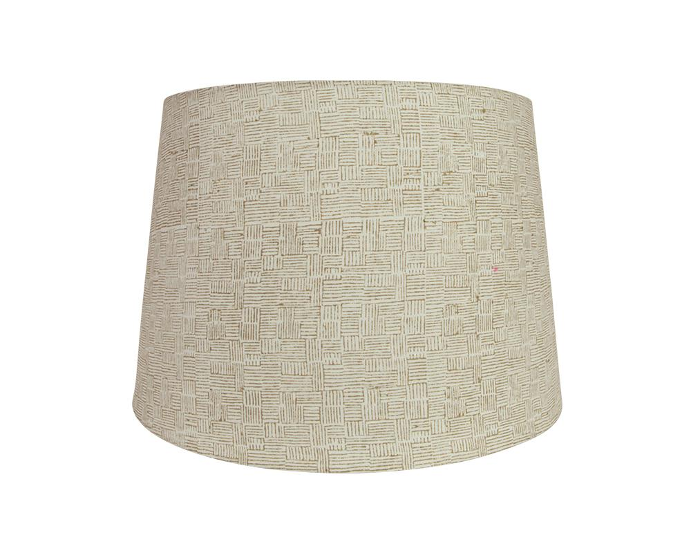 Crosshatch Block Printed Lampshade - Taupe