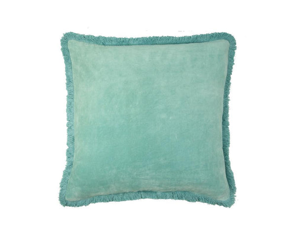 Mishran Staple Velvet Square Cushion - Seafoam