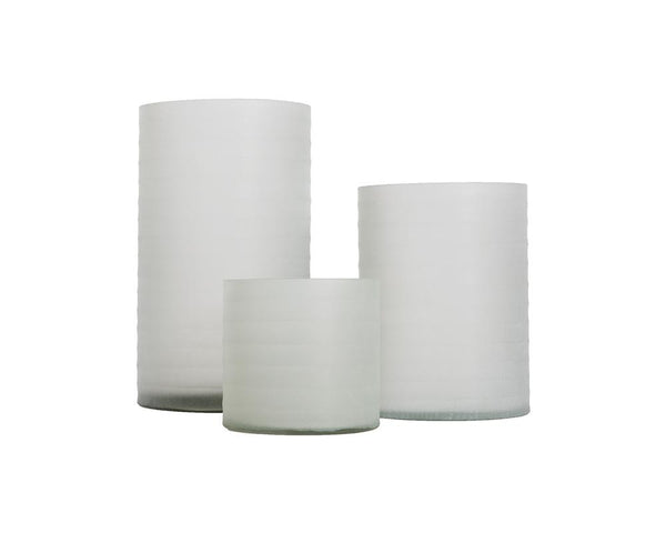 Ribbed Glass Hurricane - White