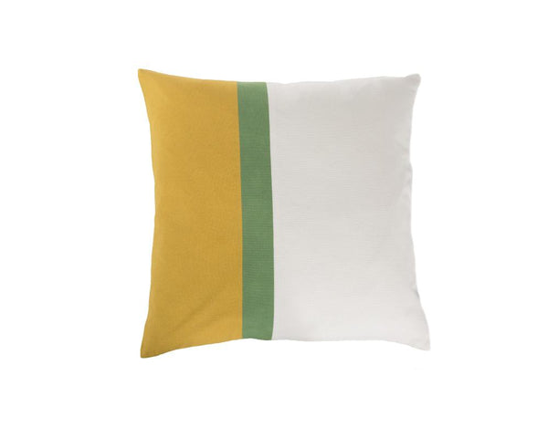 Aakaar Panel Cushion Yellow/Green - Square