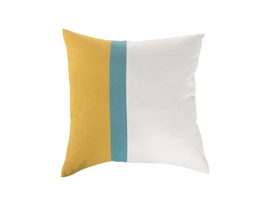 Aakaar Panel Cushion Yellow/Blue - Square