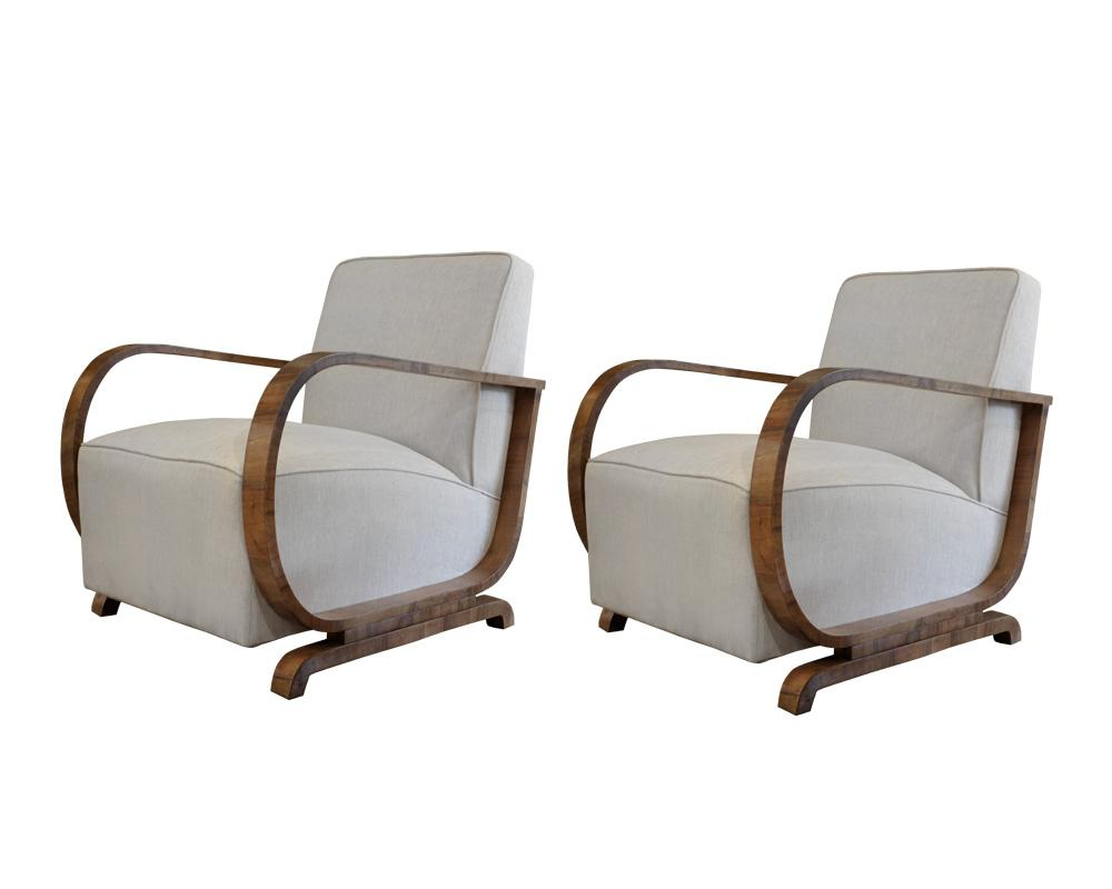 Pair of Continental 20th Century Upholstered Fauteuils