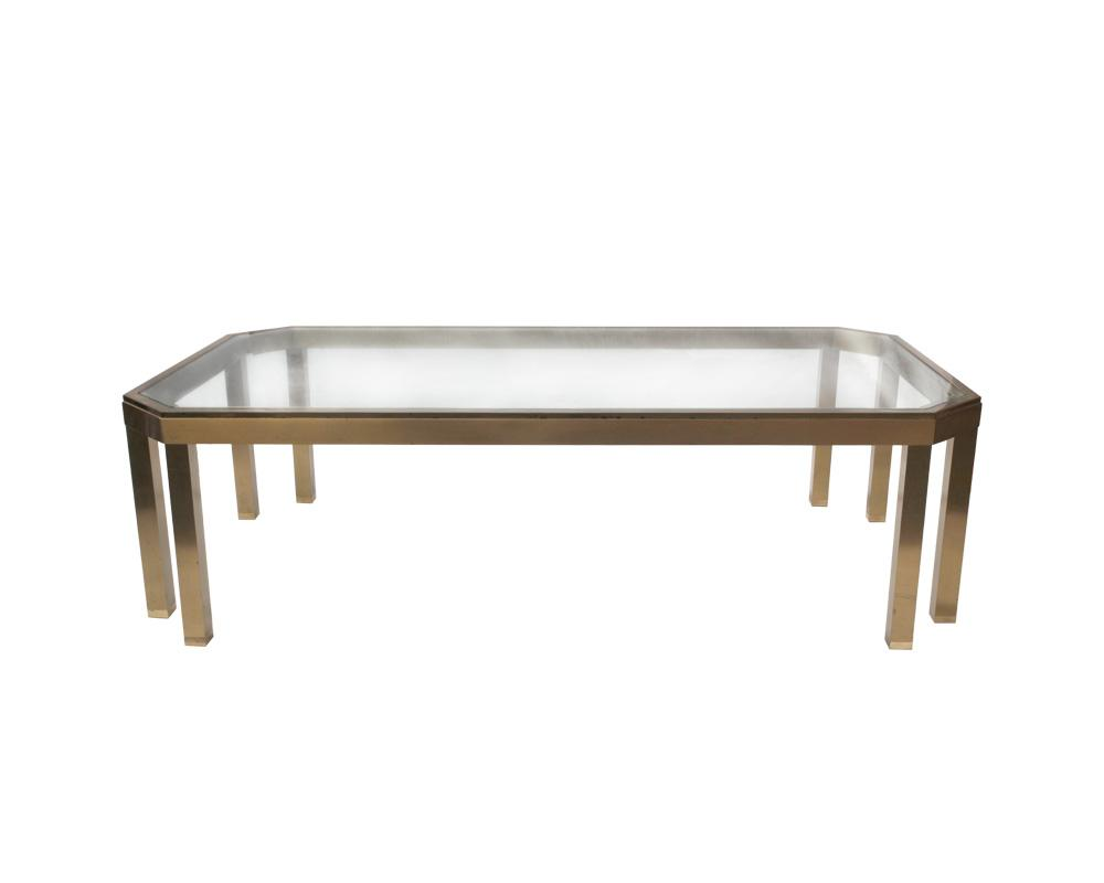French 20th Century Brass Coffee Table RESERVED
