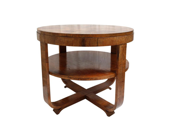 Continental 20th Century Fruitwood Circular Table  RESERVED