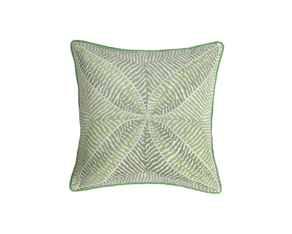 Bengali Embroidered Cushion - Sage