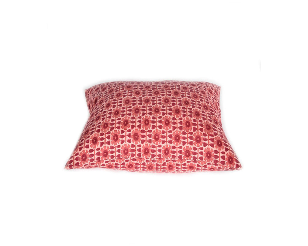 Red Jeevant Floral Cushion - Square