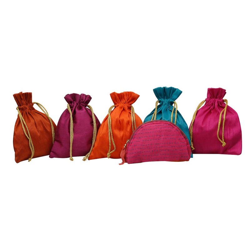 Handcrafted Colourful Potlis with Pink Pouch