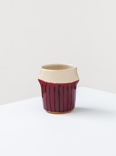 Mug with painted vertical lines