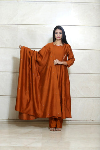 Rust Orange Chanderi Dupatta - label shreya gupta