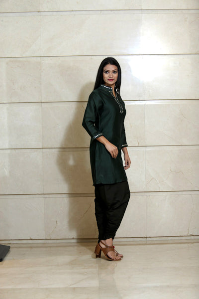 Deep Green Cotton Silk Dhoti Pants - label shreya gupta