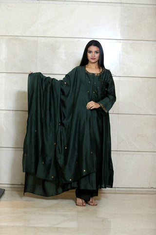 Green Chanderi Dupatta - label shreya gupta